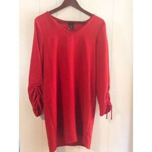 TAHARI Size 6 Red Dress Cinched Long Sleeves Midi